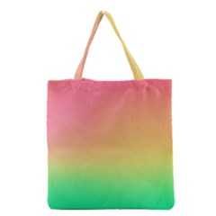 The Walls Pink Green Yellow Grocery Tote Bag by AnjaniArt