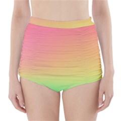 The Walls Pink Green Yellow High-Waisted Bikini Bottoms by AnjaniArt