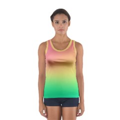 The Walls Pink Green Yellow Women s Sport Tank Top  by AnjaniArt