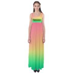 The Walls Pink Green Yellow Empire Waist Maxi Dress