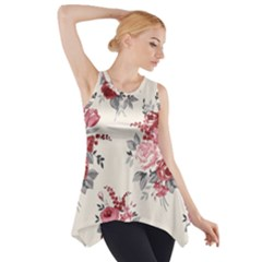 Rose Beauty Flora Side Drop Tank Tunic by AnjaniArt