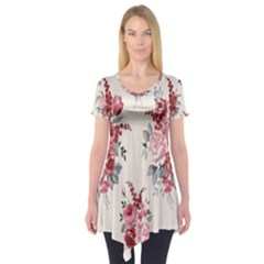 Rose Beauty Flora Short Sleeve Tunic  by AnjaniArt