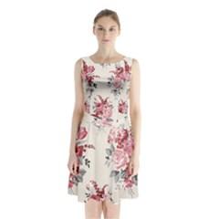 Rose Beauty Flora Sleeveless Chiffon Waist Tie Dress by AnjaniArt