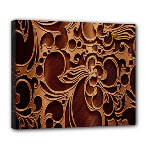 Tekstura Twigs Chocolate Color Deluxe Canvas 24  x 20   by AnjaniArt
