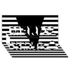 Black & White Stripes Big Triangle Merry Xmas 3d Greeting Card (8x4) by EDDArt