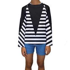 Black & White Stripes Big Triangle Kids  Long Sleeve Swimwear by EDDArt