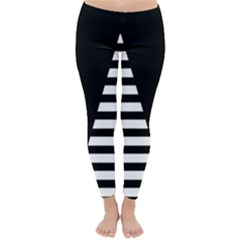 Black & White Stripes Big Triangle Classic Winter Leggings by EDDArt