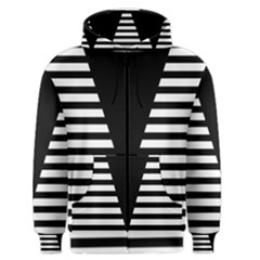 Black & White Stripes Big Triangle Men s Zipper Hoodie by EDDArt
