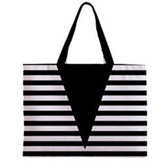 Black & White Stripes Big Triangle Zipper Mini Tote Bag by EDDArt