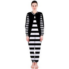 Black & White Stripes Big Triangle Onepiece Jumpsuit (ladies)  by EDDArt