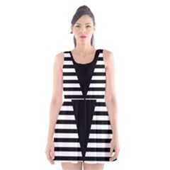 Black & White Stripes Big Triangle Scoop Neck Skater Dress by EDDArt