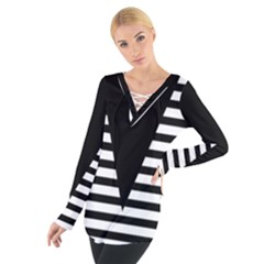 Black & White Stripes Big Triangle Women s Tie Up Tee by EDDArt