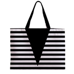 Black & White Stripes Big Triangle Medium Tote Bag by EDDArt