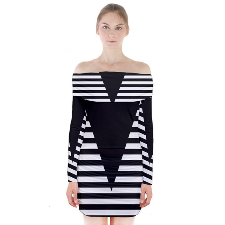 Black & White Stripes Big Triangle Long Sleeve Off Shoulder Dress