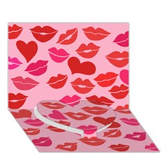 Valentine s Day Kisses Heart Bottom 3d Greeting Card (7x5) by BubbSnugg