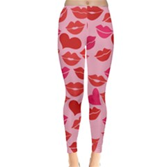 Valentine s Day Kisses Classic Winter Leggings by BubbSnugg