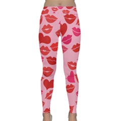 Valentine s Day Kisses Classic Yoga Leggings by BubbSnugg