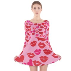Valentine s Day Kisses Long Sleeve Velvet Skater Dress by BubbSnugg
