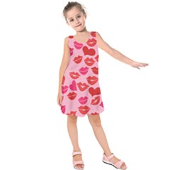 Valentine s Day Kisses Kids  Sleeveless Dress by BubbSnugg