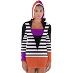 Black & White Stripes Big Triangle Women s Long Sleeve Hooded T-shirt