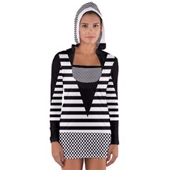 Black & White Stripes Big Triangle Women s Long Sleeve Hooded T Shirt by EDDArt