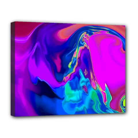 The Perfect Wave Pink Blue Red Cyan Canvas 14  X 11  by EDDArt
