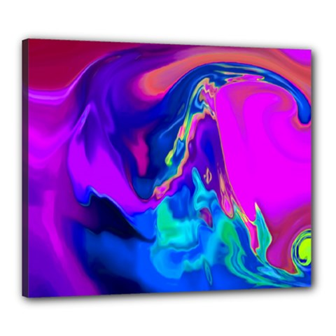 The Perfect Wave Pink Blue Red Cyan Canvas 24  X 20  by EDDArt