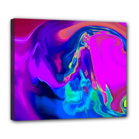The Perfect Wave Pink Blue Red Cyan Deluxe Canvas 24  X 20   by EDDArt