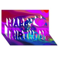 The Perfect Wave Pink Blue Red Cyan Happy Birthday 3d Greeting Card (8x4) by EDDArt