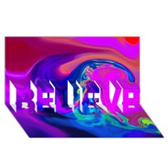 The Perfect Wave Pink Blue Red Cyan Believe 3d Greeting Card (8x4) by EDDArt
