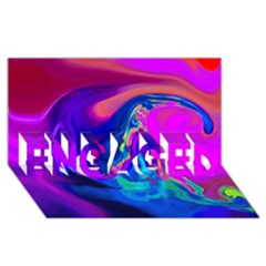 The Perfect Wave Pink Blue Red Cyan Engaged 3d Greeting Card (8x4) by EDDArt