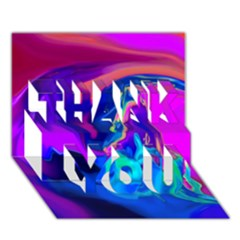 The Perfect Wave Pink Blue Red Cyan Thank You 3d Greeting Card (7x5) by EDDArt