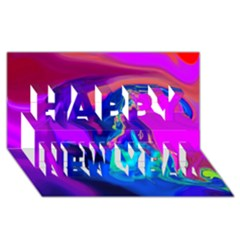 The Perfect Wave Pink Blue Red Cyan Happy New Year 3d Greeting Card (8x4) by EDDArt