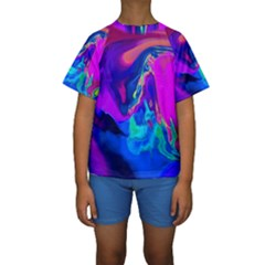 The Perfect Wave Pink Blue Red Cyan Kids  Short Sleeve Swimwear by EDDArt
