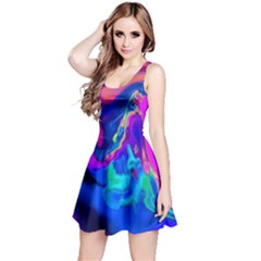 The Perfect Wave Pink Blue Red Cyan Reversible Sleeveless Dress by EDDArt