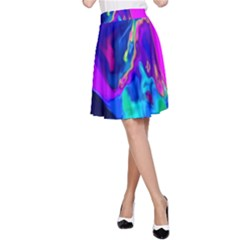 The Perfect Wave Pink Blue Red Cyan A Line Skirt by EDDArt