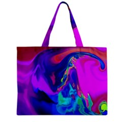 The Perfect Wave Pink Blue Red Cyan Zipper Mini Tote Bag by EDDArt
