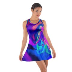The Perfect Wave Pink Blue Red Cyan Cotton Racerback Dress by EDDArt