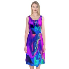 The Perfect Wave Pink Blue Red Cyan Midi Sleeveless Dress by EDDArt