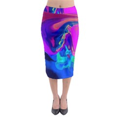 The Perfect Wave Pink Blue Red Cyan Midi Pencil Skirt by EDDArt