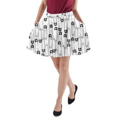 Safety Pin Pattern A-Line Pocket Skirt by Mishacat