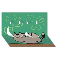 Fat Cat Twin Hearts 3d Greeting Card (8x4) by Onesevenart