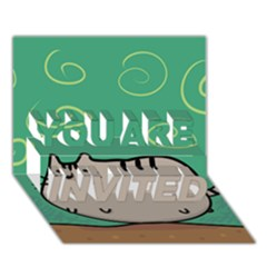 Fat Cat You Are Invited 3d Greeting Card (7x5) by Onesevenart