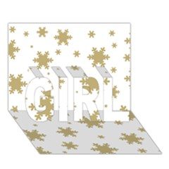 Gold Snow Flakes Snow Flake Pattern Girl 3d Greeting Card (7x5) by Onesevenart