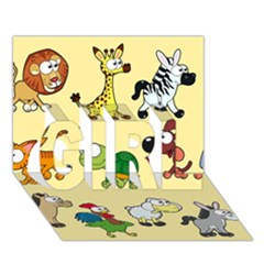 Group Of Animals Graphic Girl 3d Greeting Card (7x5) by Onesevenart