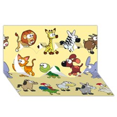 Group Of Animals Graphic Twin Hearts 3d Greeting Card (8x4) by Onesevenart