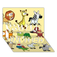 Group Of Animals Graphic You Are Invited 3d Greeting Card (7x5) by Onesevenart