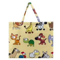 Group Of Animals Graphic Zipper Large Tote Bag by Onesevenart