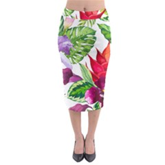 Vector Pattern Tropical Midi Pencil Skirt by Onesevenart