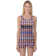 Ethnic Colorful Pattern One Piece Boyleg Swimsuit